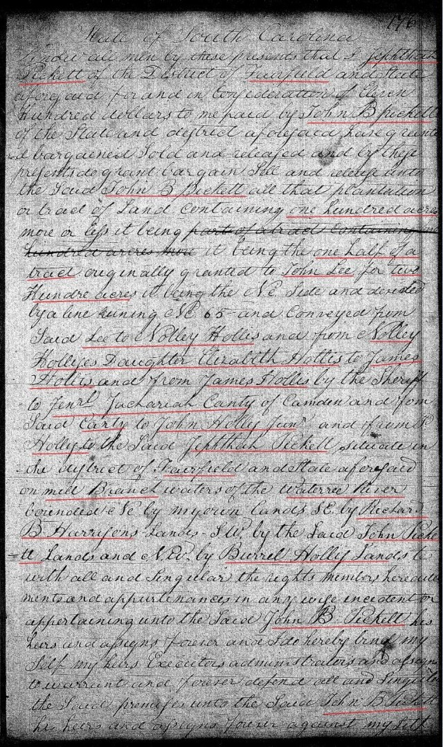 1822 July 8 Deed_DD_0176a Picket to Picket chain of title with Notley Hollis prior 1 marked snip