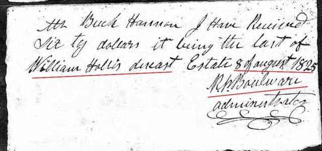 1825 Aug 8 Wm Hollis Jr accounting receipt loose ppw marked snip