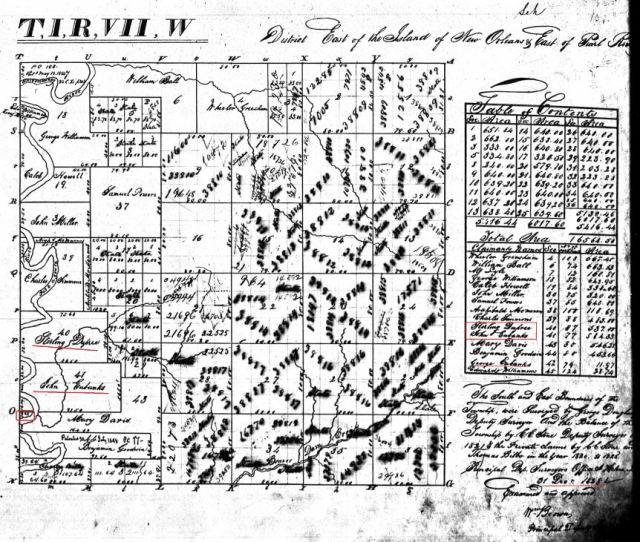 1828 St Stephens Meridian MS plat w John Eubanks a George Eubanks a Sterling Dupree marked snip