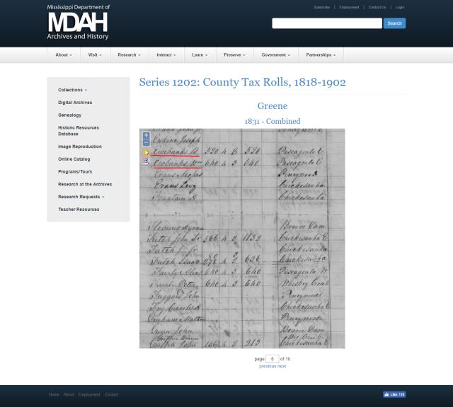 1831 Greene Co MS taxrolls w Burrell Ewebanks and William Ewebanks marked