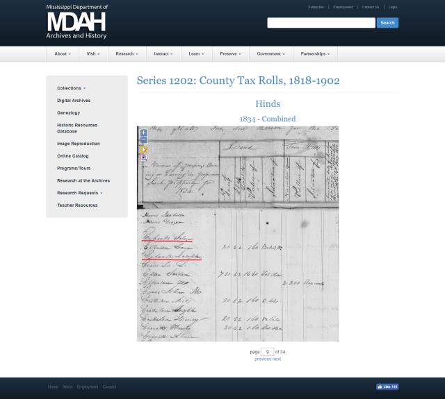 1834 Hinds Co MS taxrolls w John Eubanks a Joseph Eubanks marked