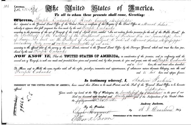 1835 09 21 Joseph Eubanks recd 40 acres Hinds Co MS marked snip
