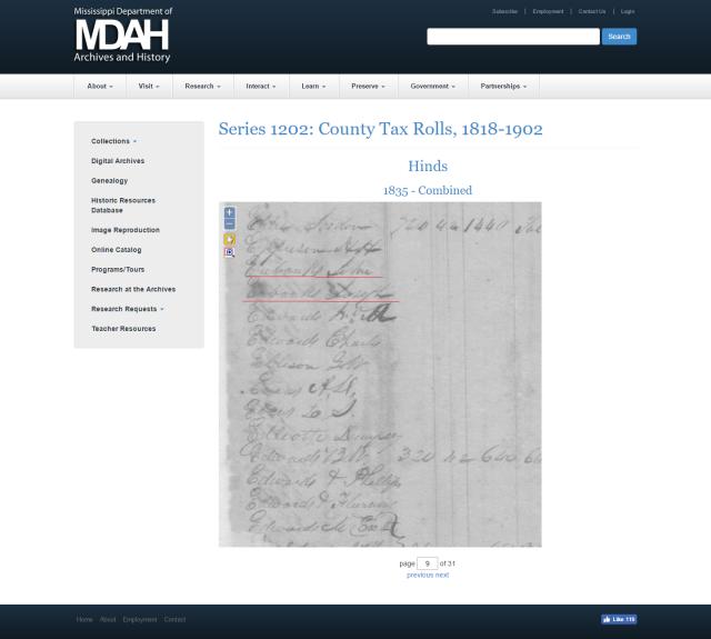 1835 Hinds Co MS taxrolls w John Eubanks and Joseph Eubanks marked