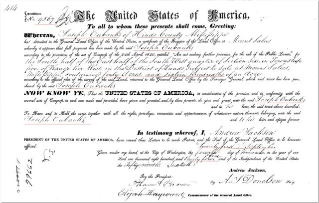 1835 Joseph Eubanks US Land Grant in 1835 - out of office in Hinds County, Miss marked snip