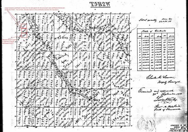 1835 plat map for T5N R2W Joseph Eubanks and Elizabeth Dutart marked snip