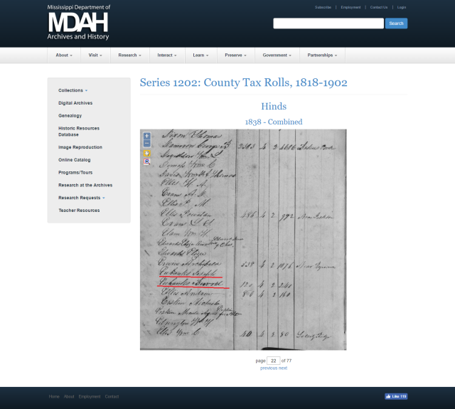 1838 Hinds Co MS taxrolls w Burrell Eubanks a Joseph Eubanks marked