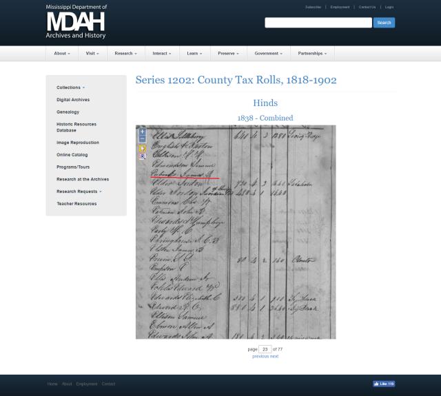 1838 Hinds Co MS taxrolls w James Eubanks marked