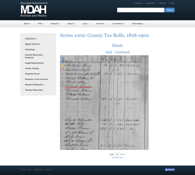 1838 Hinds Co MS taxrolls w Lemuel Eubanks marked