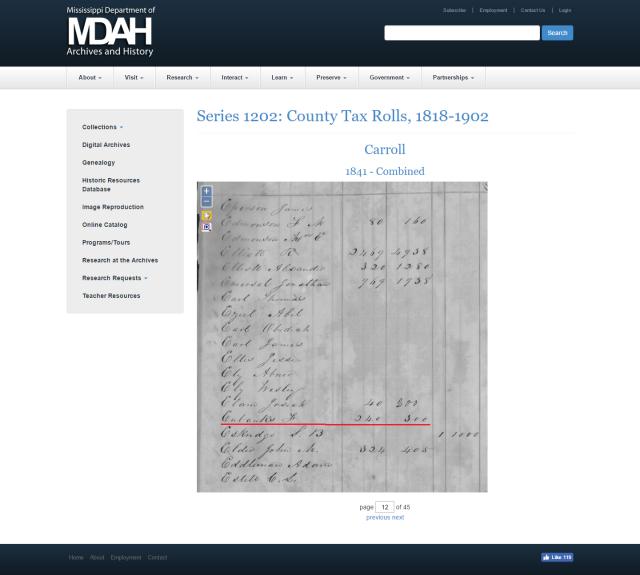 1841 Carroll Co MS taxroll w F Eubanks marked