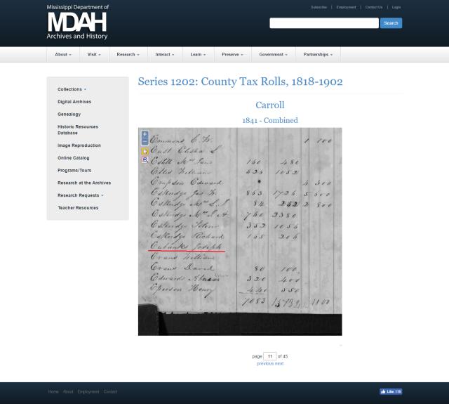 1841 Carroll Co MS taxroll w Joseph Eubanks marked