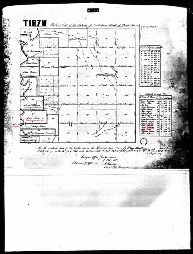 1845 St Stephens Meridian MS plat w John Eubanks a George Eubanks a Sterling Dupree resurveyed in 1845 marked