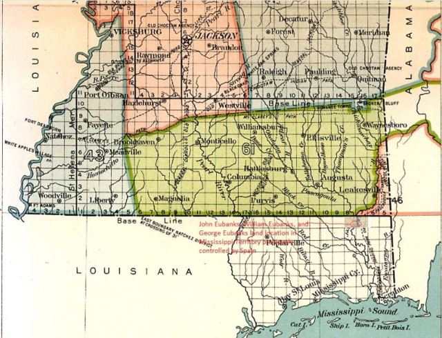 Mississippi Map with townships and ranges marked snip