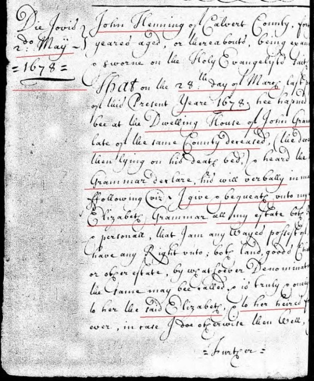 1678-march-28-henry-hollis-is-25-yrs-old-and-oath-re-john-grammer-will-in-calvert-co-md-p1-marked-snip