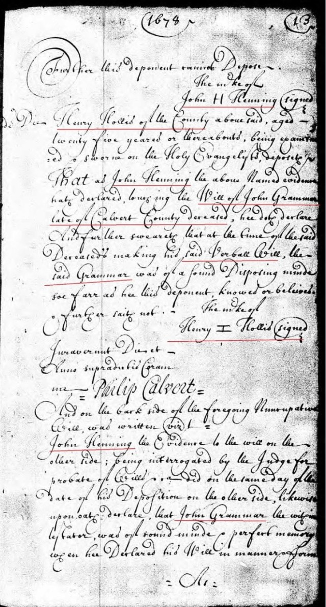 1678-march-28-henry-hollis-is-25-yrs-old-and-oath-re-john-grammer-will-in-calvert-co-md-p2-marked-snip