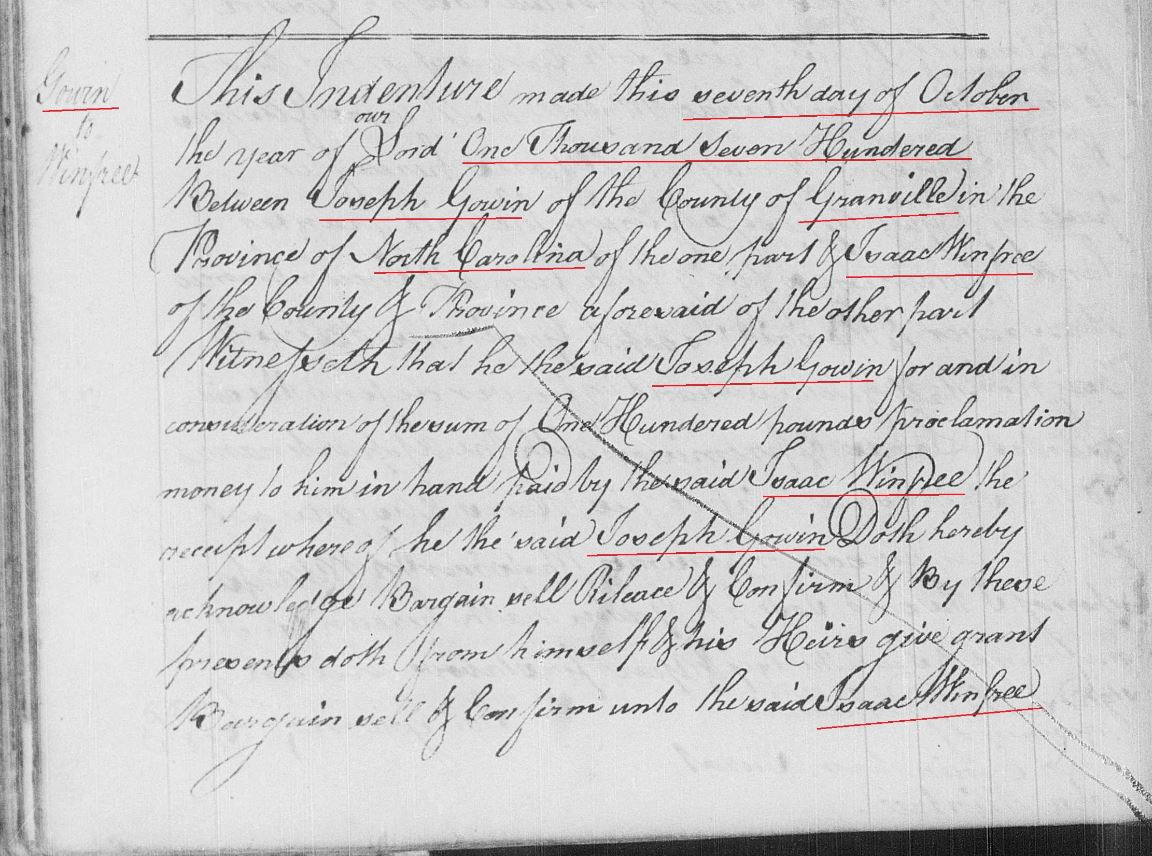 1700-05 William Gowen of Granville Co, NC and Spartanburg ...