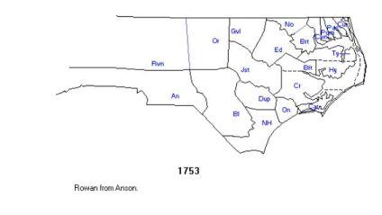 1 rowan co, nc in 1753 created from anson co nc