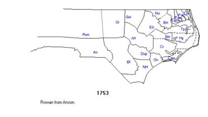 1 rowan co, nc in 1753 created from anson co nc