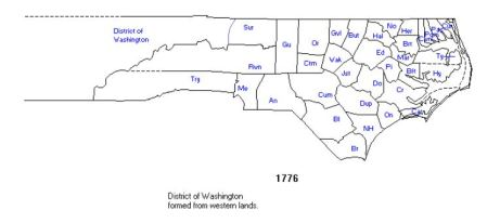 1 rowan co, nc in 1776