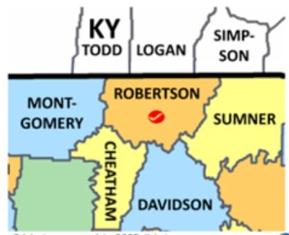 Map of Robertson Co TN area