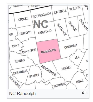 Randolph Co NC map