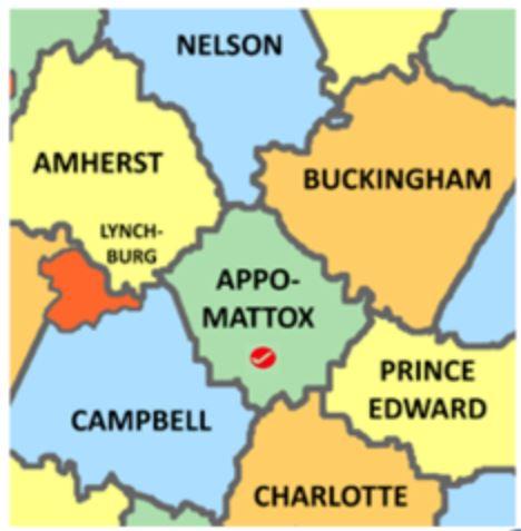 Appomattox Co Va map