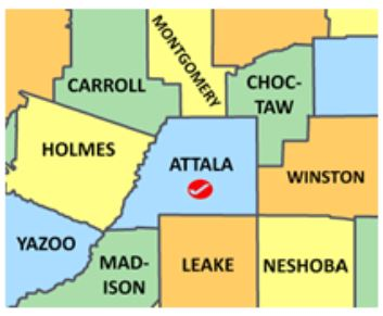 Attala Co MS map