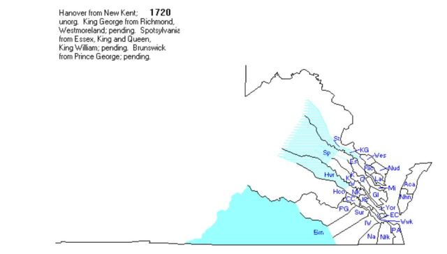 Brunswick Co Va map created 1720 fr Prince George