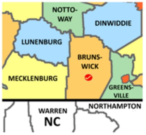 Brunswick Co Va map