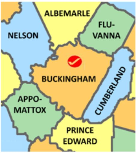 Buckingham Co Va map