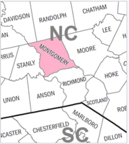 Montgomery Co NC map