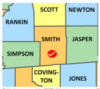 Smith Co MS map