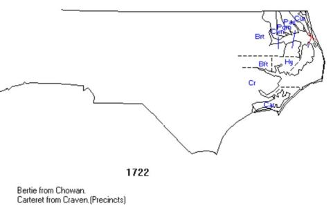 North Carolina county locations in 1722