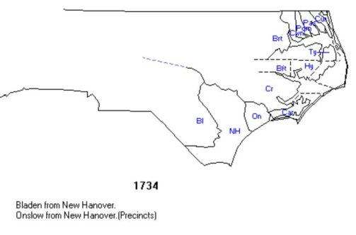 North Carolina county locations in 1734
