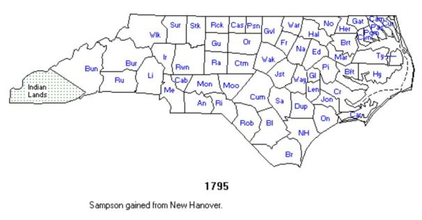North Carolina county locations in 1795
